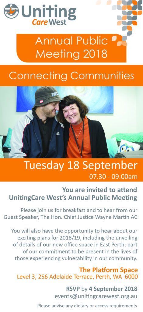 An invitation to UnitingCare West's Annual Public Meeting - Uniting WA
