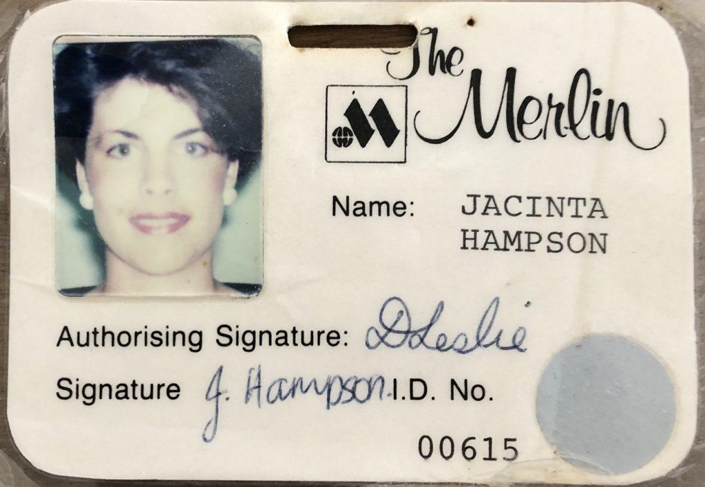 Jacinta's Merlin Hotel ID badge from 1988